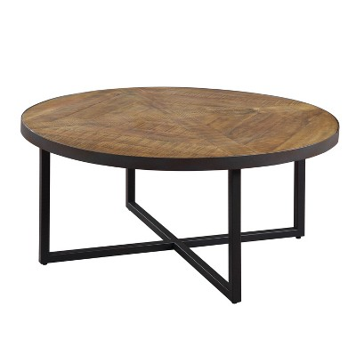 Wallace & Bay T650-00 Denton Rustic Home Decor Antique Pine 36 Inch Round Pieced Top Coffee Table with Metal Base, Brown and Steel Gray