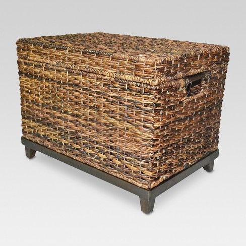 Wicker Large Storage Trunk Dark Global Brown 18 X18 Threshold
