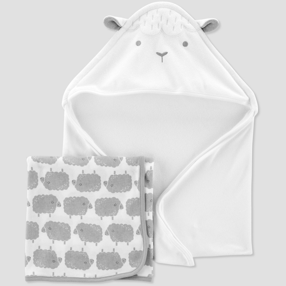 Image of Baby Sheep Bath Towel Set - Just One You made by carter's White/Gray One Size