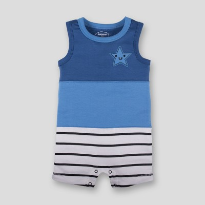Lamaze Baby Boys' Organic Cotton Colorblocked Stripe Romper - Blue Newborn