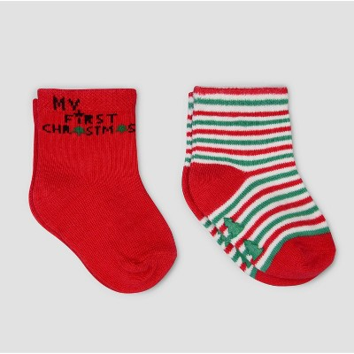 Baby 2pk Christmas Crew Socks - Just One You® made by carter's Red/Green 6-12M