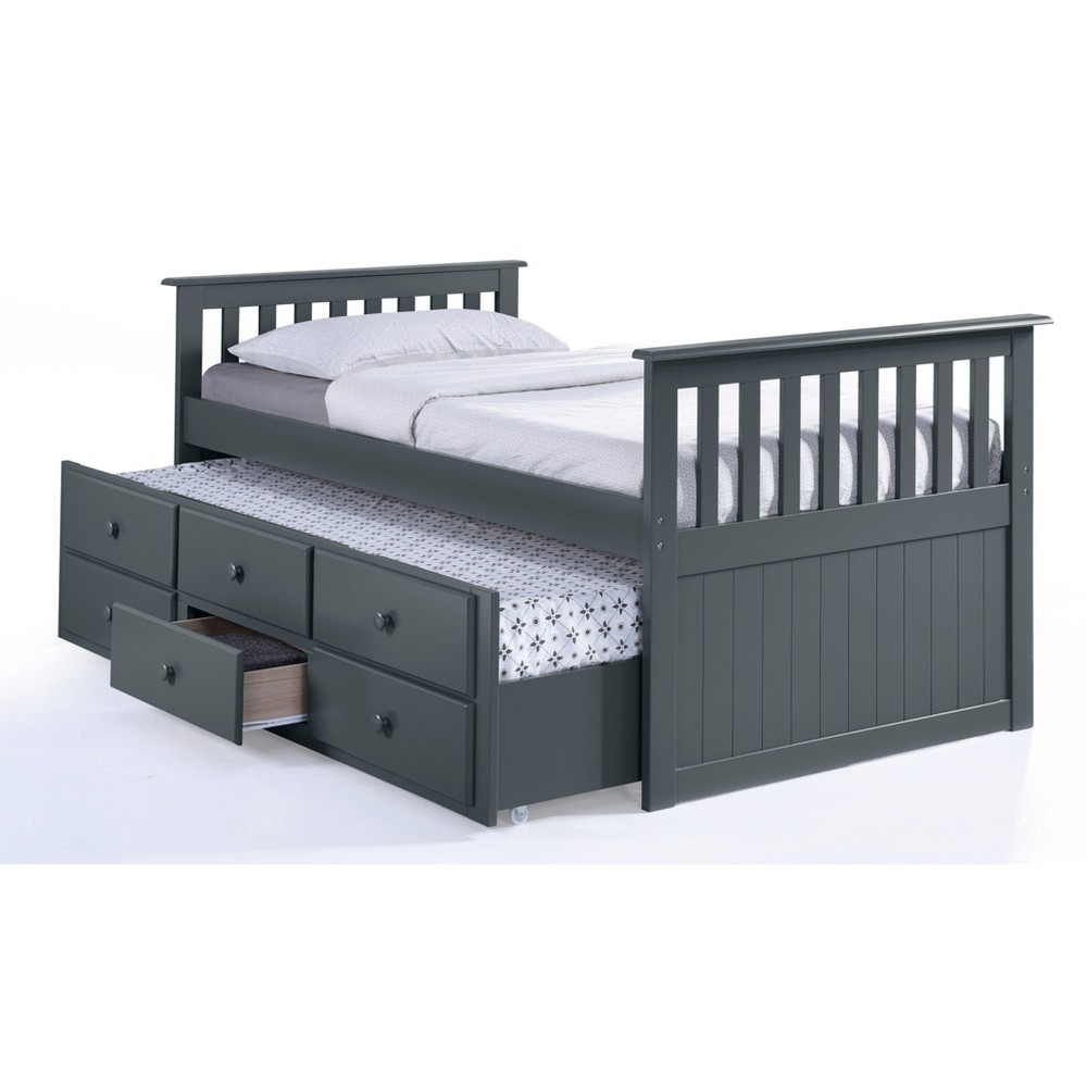 Image of Lagoon Captain's Twin and Full Beds with Trundle Gray - Broyhill Kids