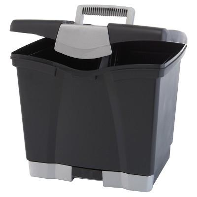Storex® Portable File Box with Drawer- Black