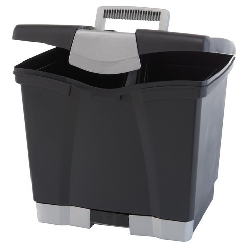 Storex® Portable File Box with Drawer- Black - image 1 of 3