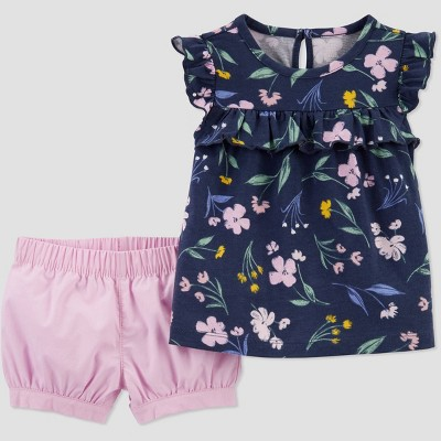 Baby Girls' Floral Top & Bottom Set - Just One You® made by carter's Navy