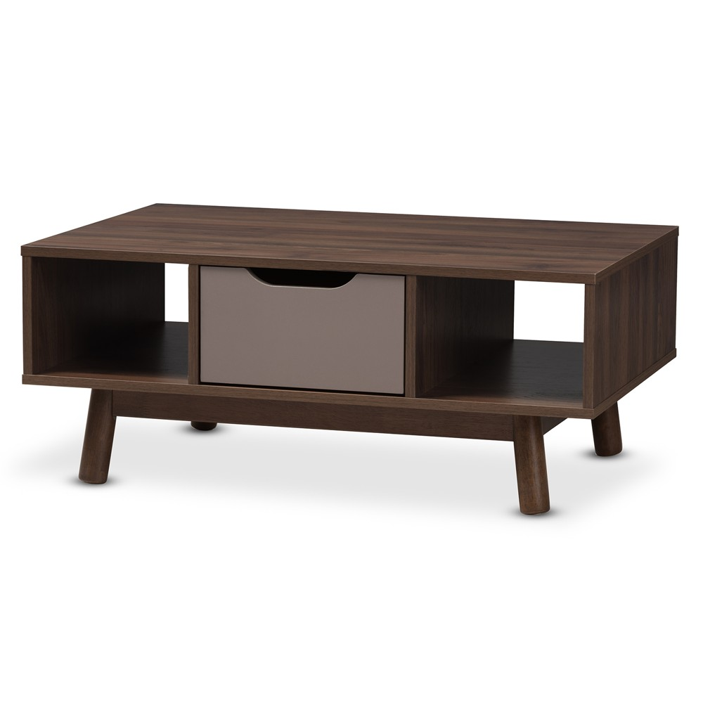 Britta Midcentury Modern Walnut And Two Tone Finished Wood Coffee Table Brown/Gray - Baxton Studio