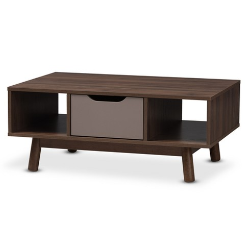 Britta Midcentury Modern Walnut And Two Tone Finished Wood Coffee Table Brown/Gray - Baxton Studio - image 1 of 11