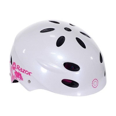 Razor 97866 V-12 Youth Kids Safety Multi Sport Bicycle Helmet For Children with 17 Cooling Vents, Adjustable Strap, and Padding, White/Pink