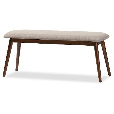 Flora Mid-Century Modern Light Gray Fabric & Oak Medium Brown Finishing Wood Dining Bench - Baxton Studio