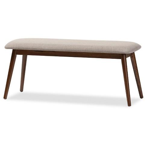 Flora Mid-Century Modern Light Gray Fabric & Oak Medium Brown Finishing Wood Dining Bench - Baxton Studio - image 1 of 4