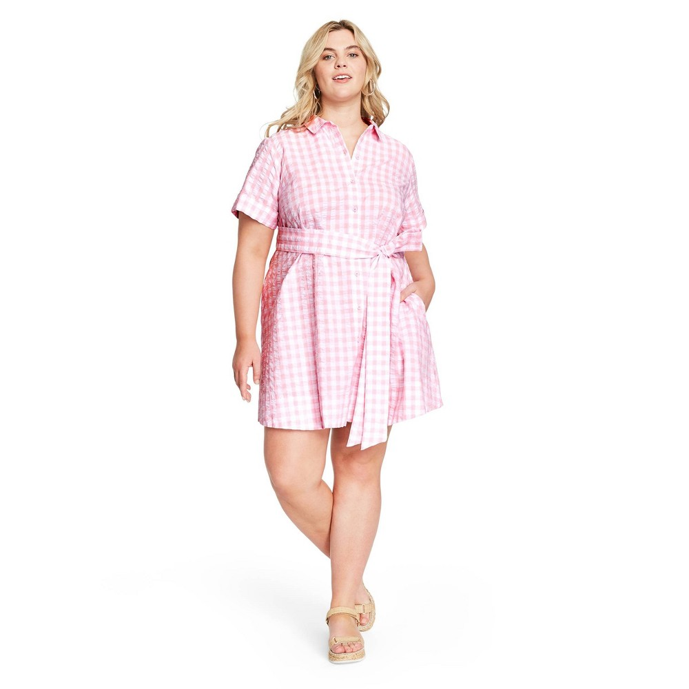 Cottagecore Clothing, Soft Aesthetic Women39s Plus Size Gingham Button-Front Shirtdress - Lisa Marie Fernandez for Target $22.50 AT vintagedancer.com