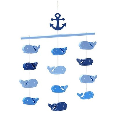 Little Love Whales Ceiling Mobile - Navy