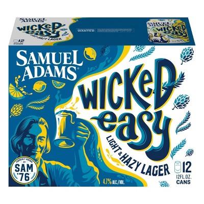 Samuel Adams Wicked Easy, Light & Hazy Lager Beer - 12pk/12 fl oz Cans