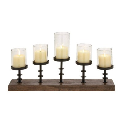 "24"" x 13"" Farmhouse Mango Wood/Iron Five Light Votive Candle Holder Brown - Olivia & May"