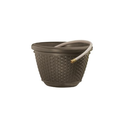 Suncast 100 Foot Resin Wicker Garden Water Hose Caddy Storage Holder Pot, Java