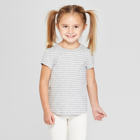 Toddler Girls' Short Sleeve Stripped T-Shirt - Cat & Jack™ Gray - image 1 of 3