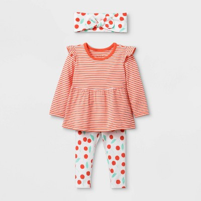 Baby Girls' Long Sleeve Cherry Print Top & Bottom Set - Cat & Jack™ Orange 3-6M