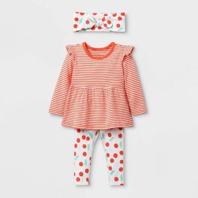 Baby Girls' Long Sleeve Cherry Print Top & Bottom Set - Cat & Jack™ Orange 12M