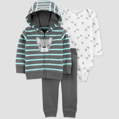 Baby Boys' 3pc Frenchie Stripe Long Sleeve Cardigan Set - Just One You® made by carter's Gray/White 9M
