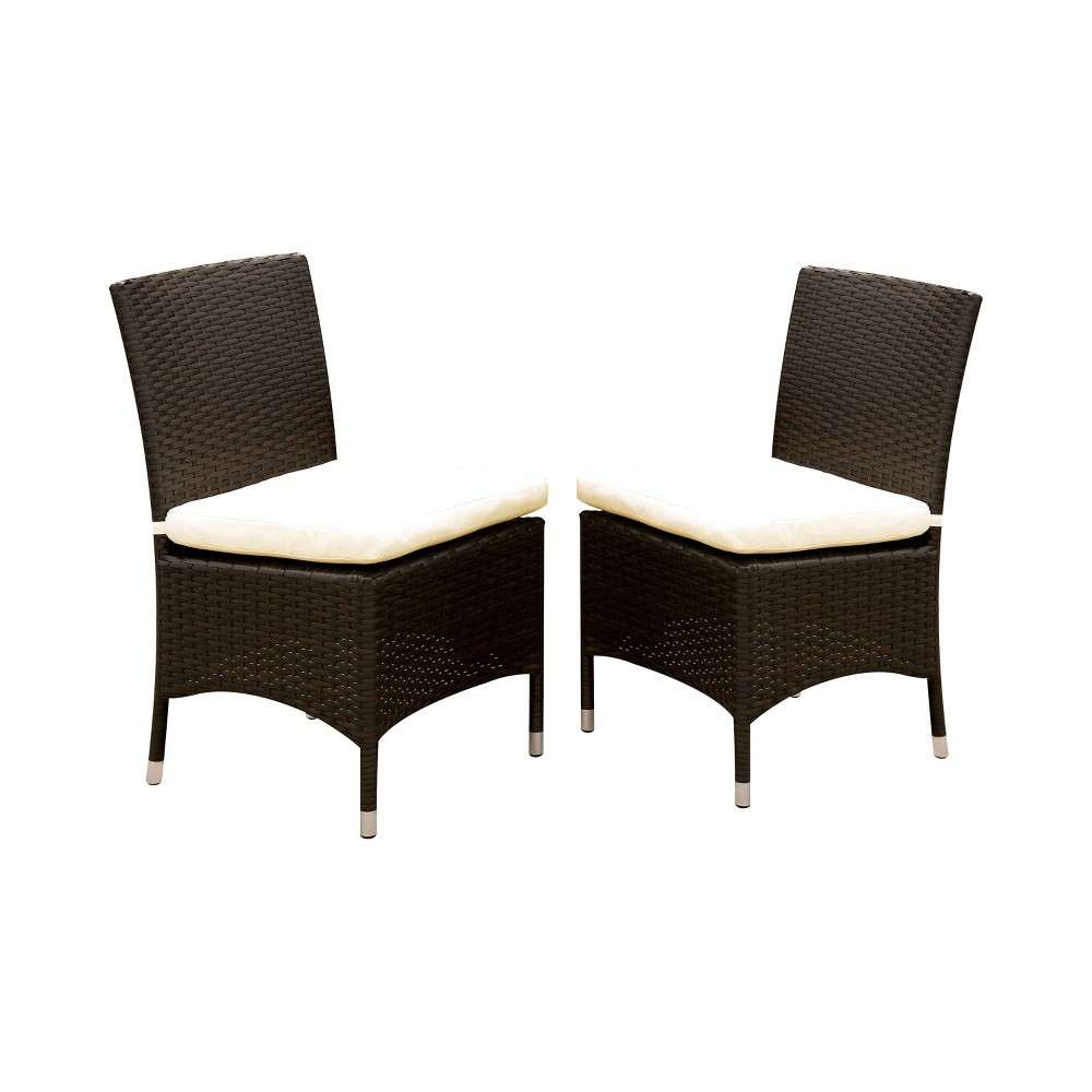 Image of 2pc Chadwick All Weather Wicker Patio Side Chairs Brown/White - miBasics