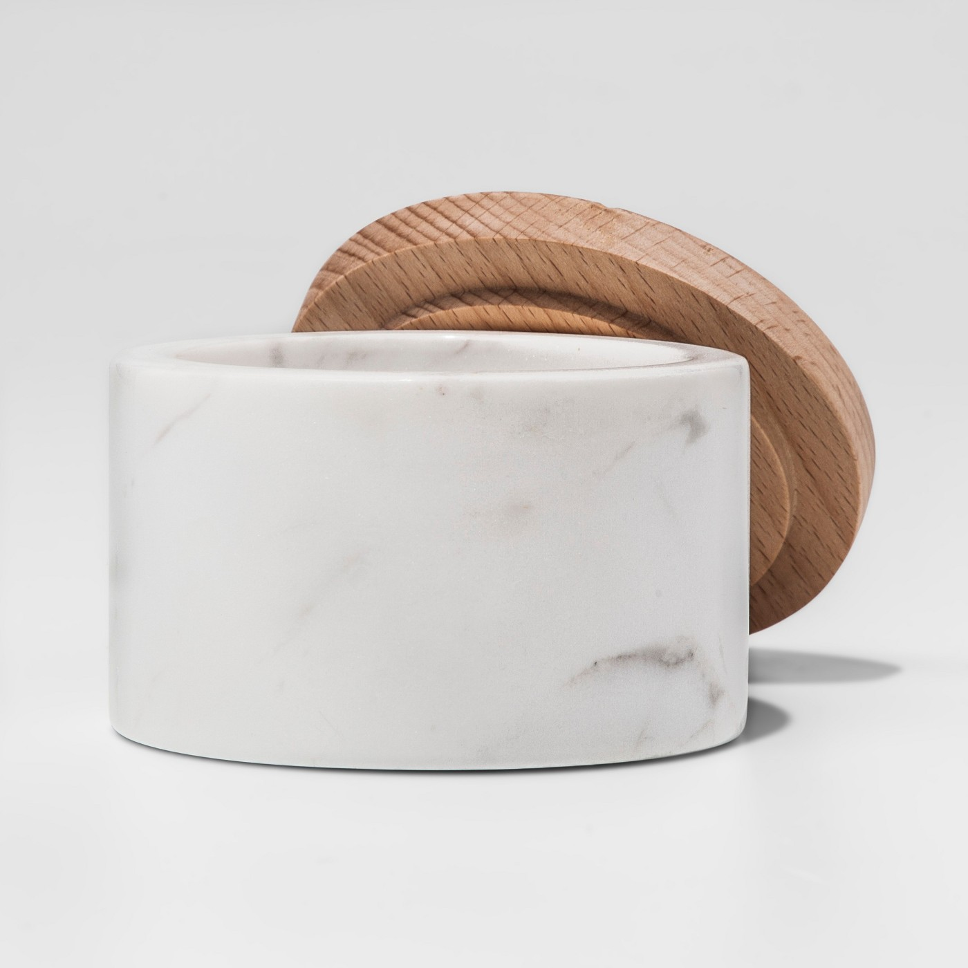 Marble Salt Box with Beechwood Lid White - Threshold⢠- image 2 of 2