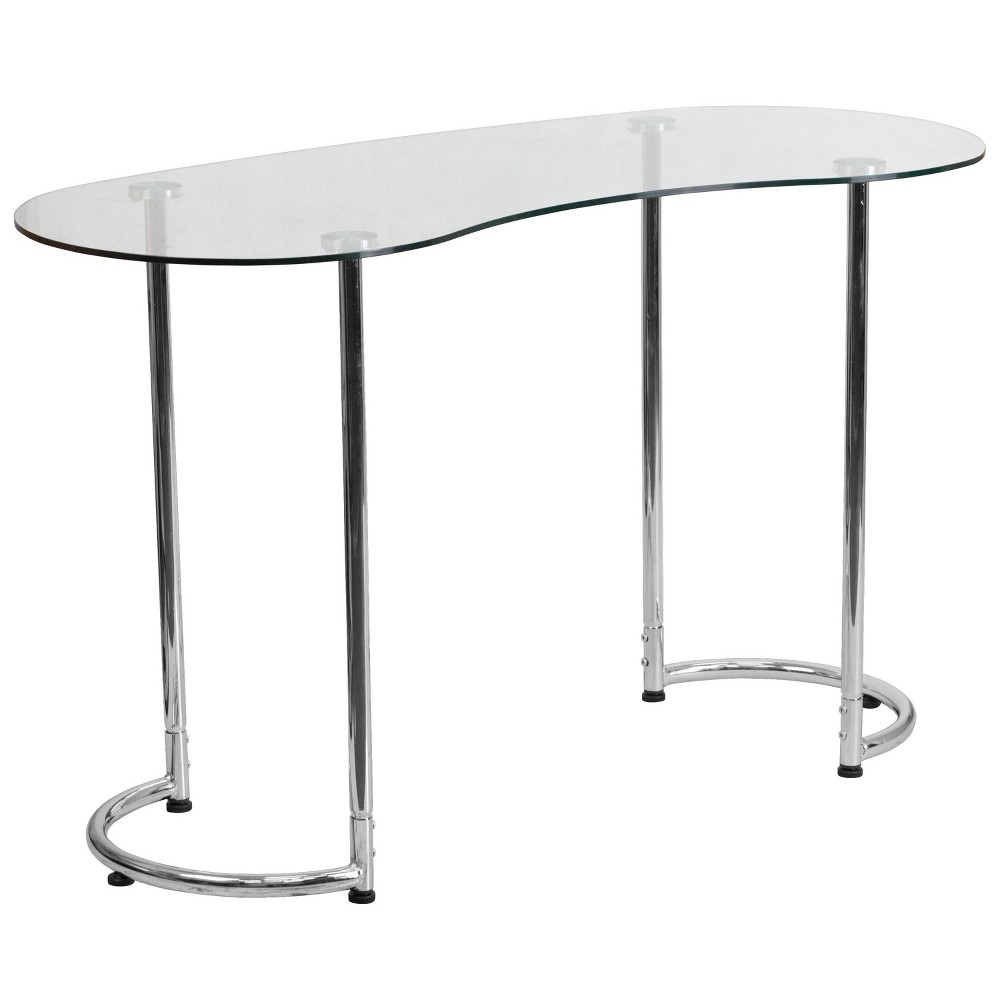 Image of Contemporary Desk with Clear Tempered Glass - Clear Glass Top/Chrome Frame - Riverstone Furniture Collection, Black
