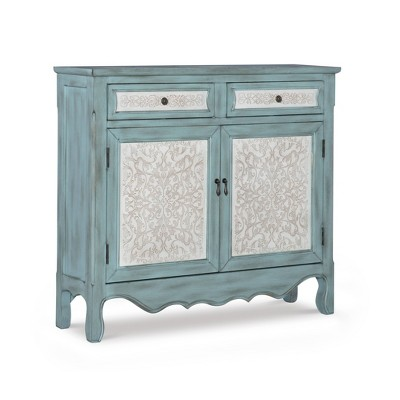 Duncan Cabinet Console Table Antique Blue - Powell Company
