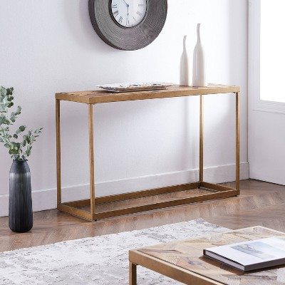 Darheath Reclaimed Wood Patchwork Console Table Natural/Brass - Aiden Lane