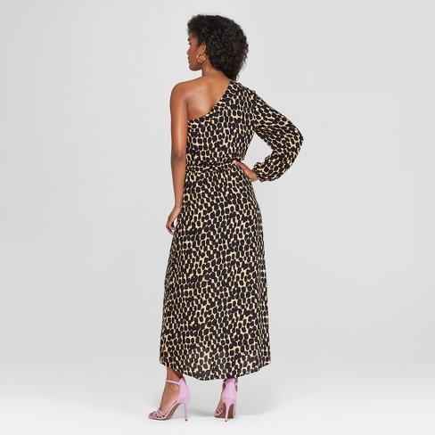 Women s Leopard Print Long Sleeve One Shoulder Midi Dress - Who What Wear™  Black Yellow   Target cc6006c643