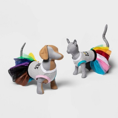 Dog T-Shirt & Tutu Skirt - Rainbow - Pride