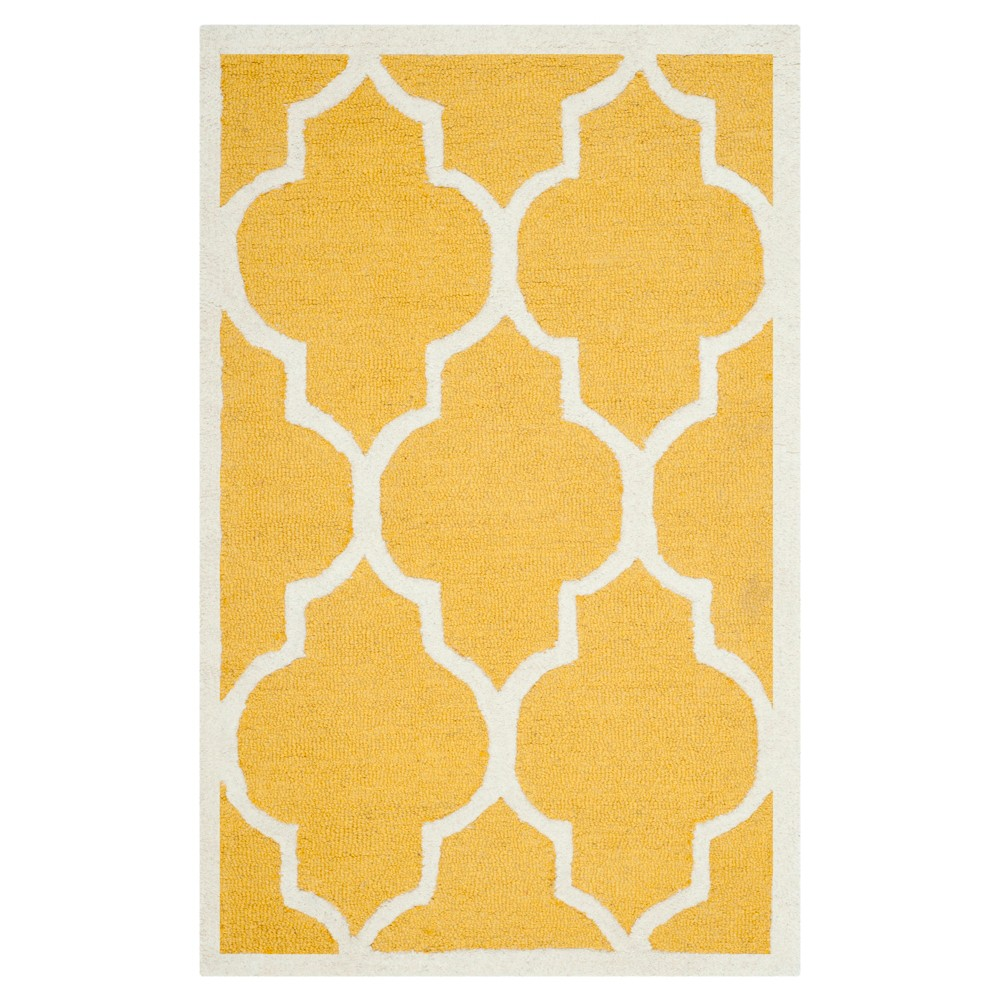 2'6X4' Geometric Accent Rug Gold/Ivory - Safavieh