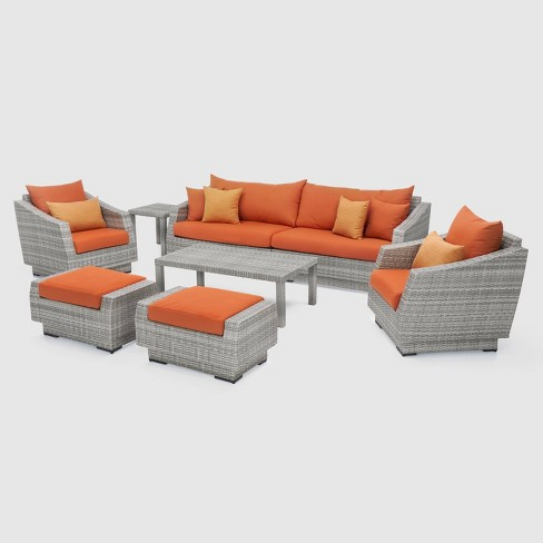 RST Brands Cannes 8-piece 2-piece Sofa and Club Chair Set - Tikka Orange - image 1 of 10