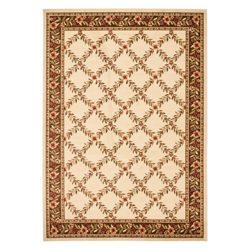 8'X11' Floral Loomed Area Rug Ivory/Brown - Safavieh
