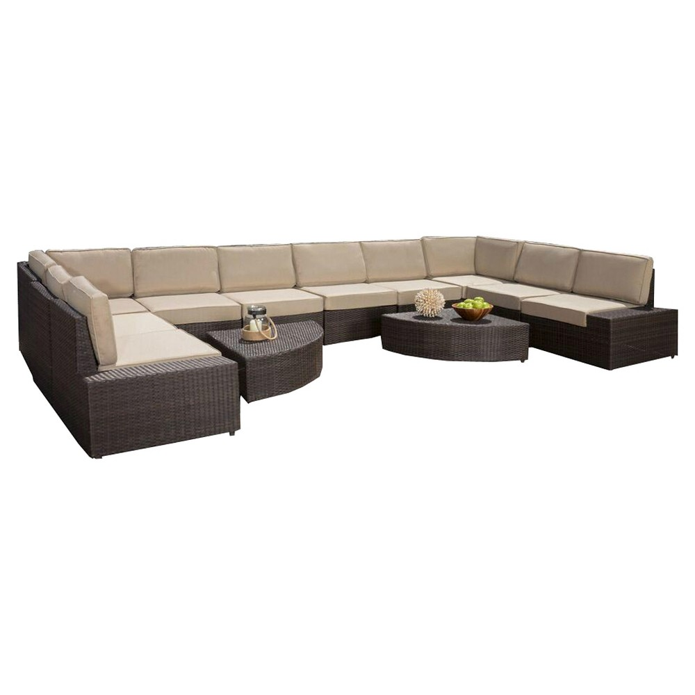 Santa Cruz 12pc Wicker Sofa Set with Cushions - Brown - Christopher Knight Home