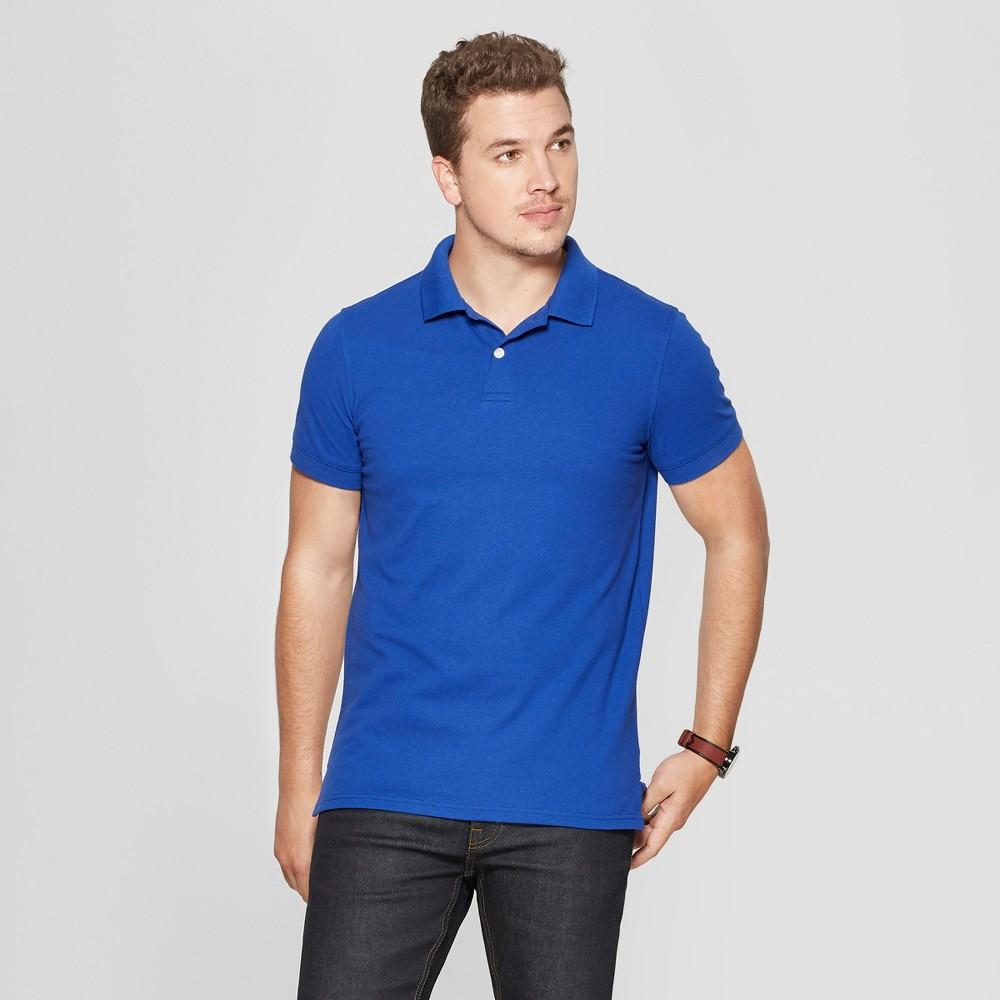 Men's Standard Fit Short Sleeve Pique Loring Polo Shirt - Goodfellow & Co Uniform Blue XL