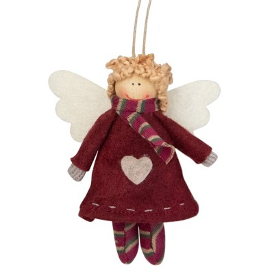 """NORTHLIGHT 4.25"""" Hannah the Holiday Angel Christmas Ornament - Red/White"""