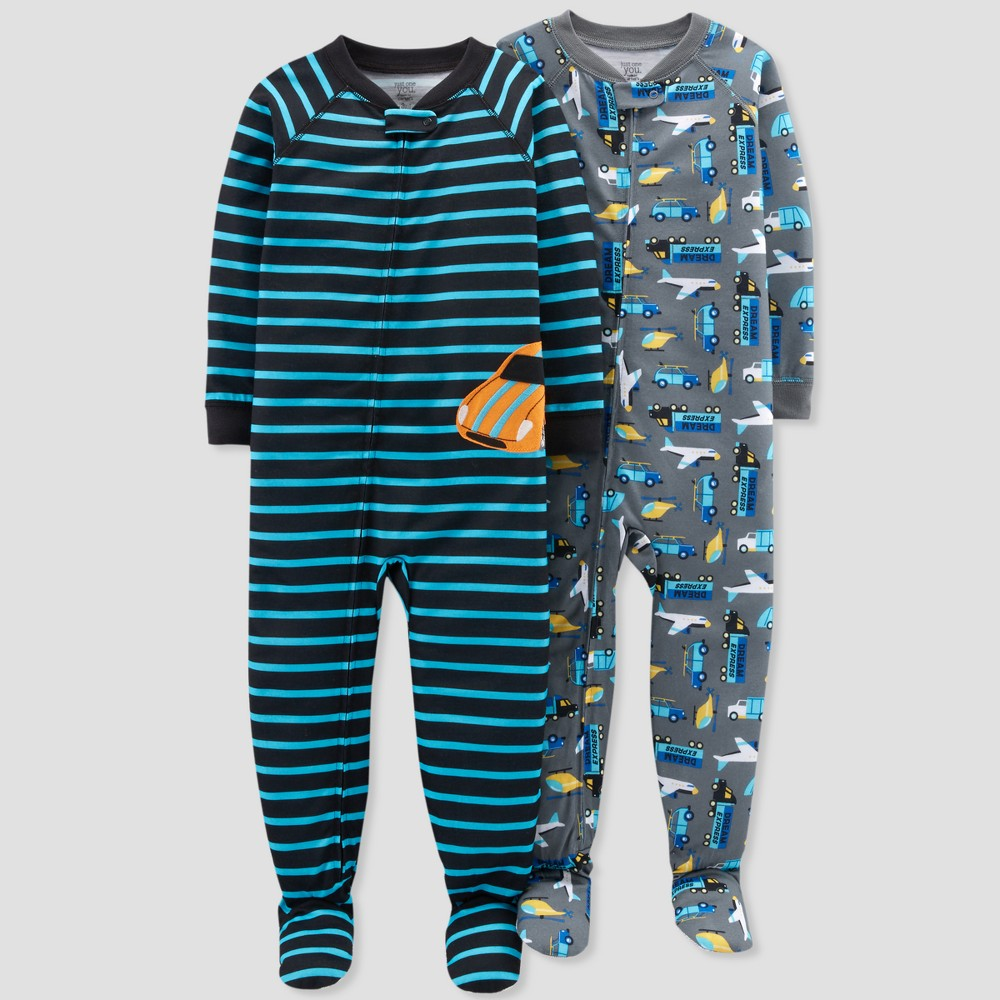 Toddler Boys' Construction Footed Sleeper Pajama Set - Just One You made by carter's Blue Reason 3T