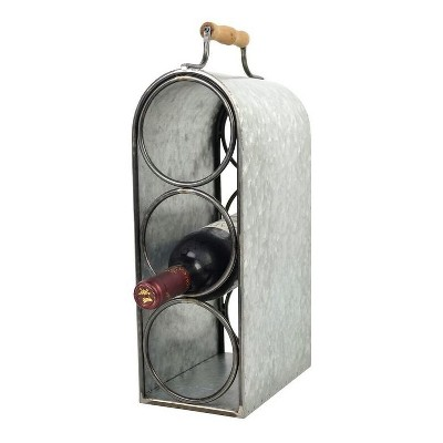 3-Bottle Wine Rack with Handle Tin Finish 15.5  - Drew DeRose
