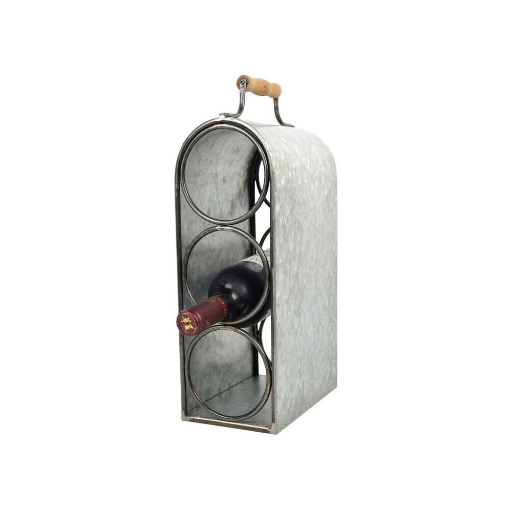 "Image of ""3-Bottle Wine Rack with Handle Tin Finish 15.5"""" - Drew DeRose, Silver"""