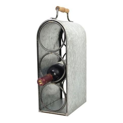 "3-Bottle Wine Rack with Handle Tin Finish 15.5"" - Drew DeRose - image 1 of 1"
