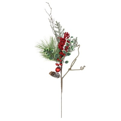 """Northlight 32"""" Green Frosted Berries and Pine Cones Artificial Christmas Spray"""
