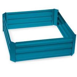 "Demeter Corrugated Metal Raised Bed, 34"" x 34"" Blue - Gardener's Supply Company"