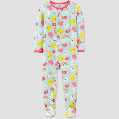 Toddler Girls' Rainbow Heart Printed Footed Sleepers - Just One You® made by carter's Blue - image 1 of 1