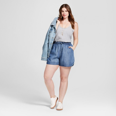 3f3f29b74667f Women s Plus Size Pull-On Shorts - Universal Thread™ Light Blue   Target