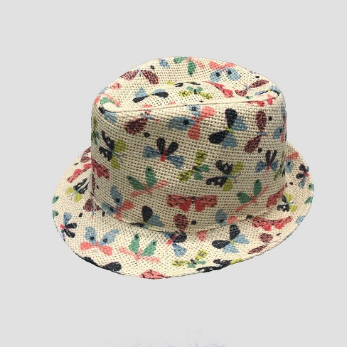 Toddler Girls' Butterfly Fedora - Cat & Jack™ Natural 2T-5T - image 1 of 2