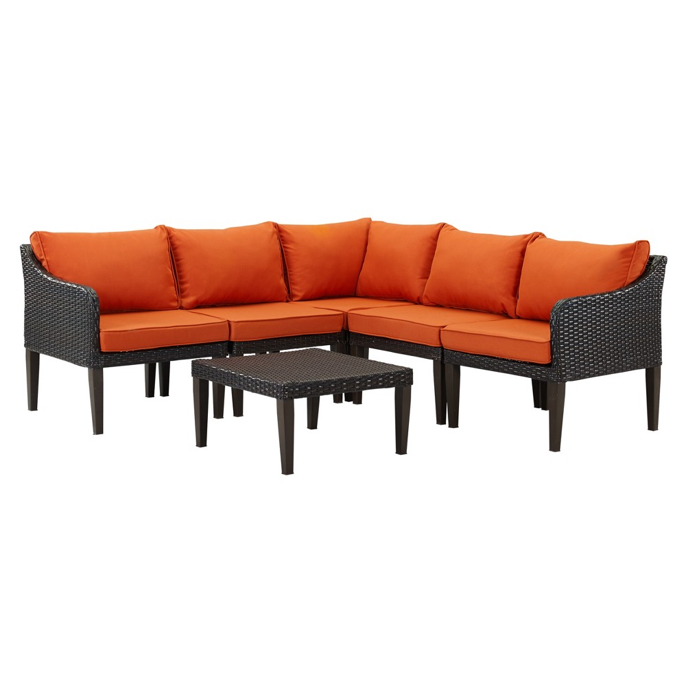 Image of 6pc Bari Wicker Lounge Set Brown/Orange - DH Casual