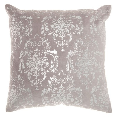 Luminecence Distressed Damask Square Throw Pillow Light Gray - Mina Victory