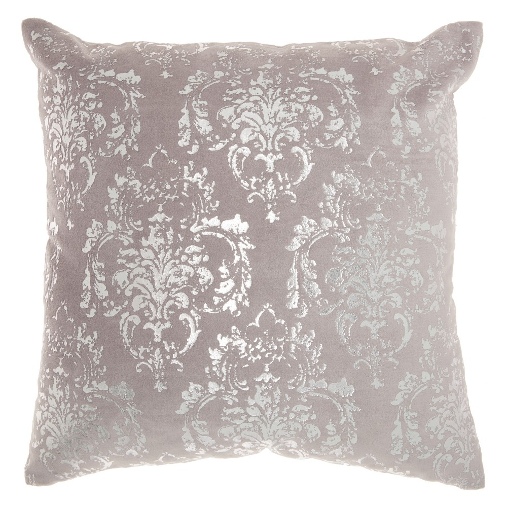 Image of Luminecence Distressed Damask Square Throw Pillow Light Gray - Mina Victory