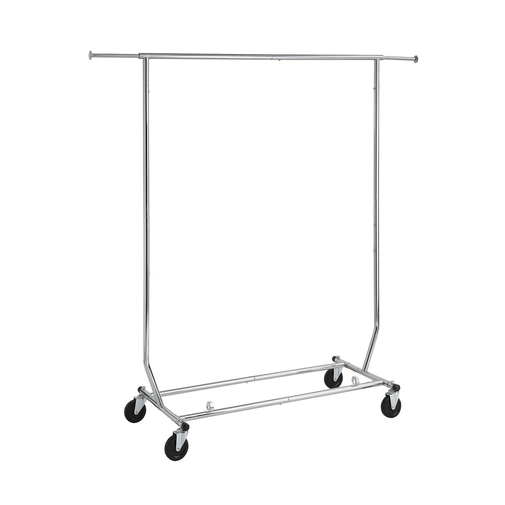Neu Home Closet System Sets Shiny Silver The Ultra Garment Rack by Neu Home is a resilient steel clothing unit that is capable of holding over 200lbs of garments. Constructed of heavy duty steel tube with plastic accents and a chrome finish it is both conveniently adjustable by both width and height. Heavy duty casters with industrial grade locking wheels allow this rack to easily move. Unit usefully folds flat for simple storage purposes when not in use. Color: Silver.