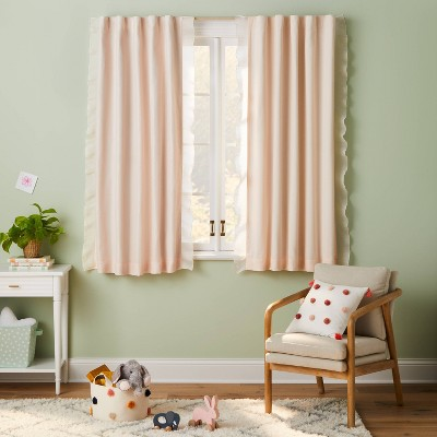 """63"""" Blackout Pleated Side Ruffle Sheer Overlay Panel Pink - Pillowfort™"""